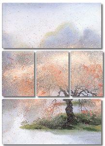 Акварель пейзаж. Цветущее дерево возле Рив
