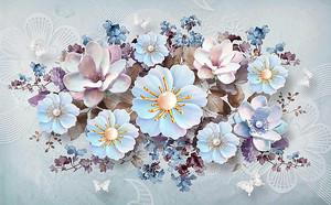 Фактурные разнообразные цветы