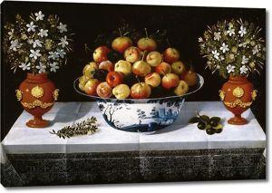 Томас Йепес. Натюрморт с фруктами и цветами в вазах