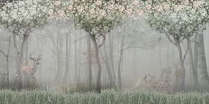 Темный и туманный лес с животными