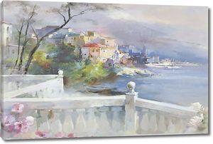 Прекрасный акварельный рисунок с видом на город