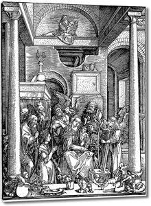 Гравюра с множеством людей в церкви