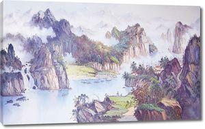 Живописный вид на горную реку
