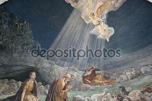 Ангел Господень посетил пастухи и сообщил им о рождении Иисуса