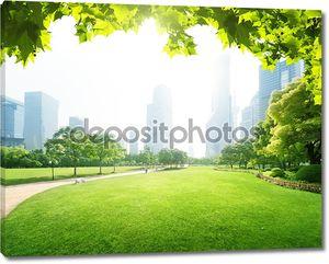 Парк в финансовом центре lujiazui, Шанхай, Китай