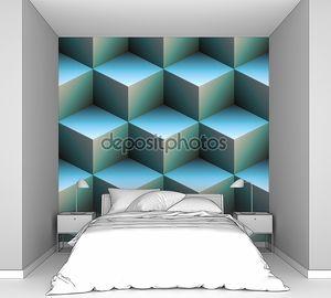 3D кубов в голубом