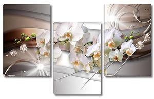 Орхидеи  на металлическом фоне