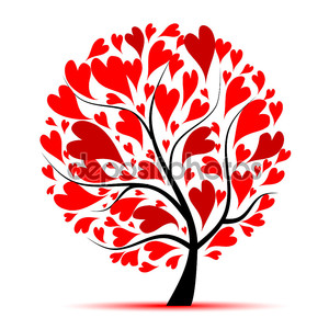 Валентина дерево, любовь, лист из сердец