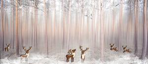 Туман в лесу с оленями