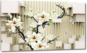 Кубики, белые бабочки, дерево с белыми цветами
