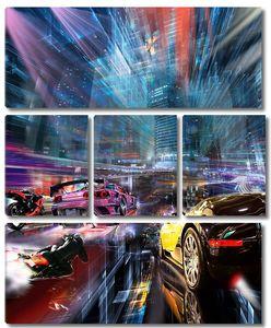 Спортивные машины на большой скорости