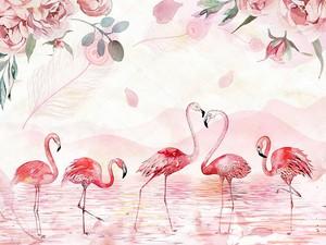 Фламинго ходят по воде