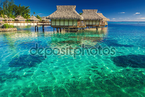 Виллы в лагуне в мелкой воде с кораллом