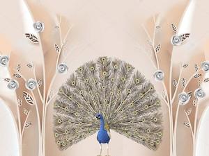Синий павлин с раскрытым хвостом