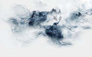 Горы и олень по центру