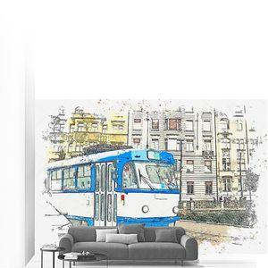 Традиционный трамвай Праги .