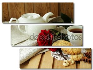 Натюрморт с чашкой чая и розой
