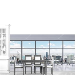 Workplaces in a modern panoramic office, New York city view in the windows, Manhattan. Open space. White tables and black leather chairs. A concept of financial consulting services. 3D rendering.