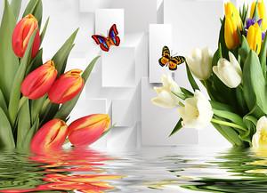 Букеты тюльпанов в воде