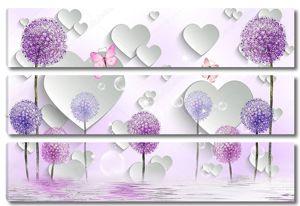 Красочные одуванчики, отражение в воде