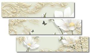 Белые цветы с резным узором