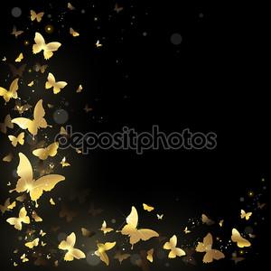 Бабочки на черном фоне
