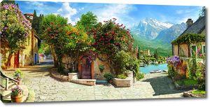 Солнечная улица с яркими цветами