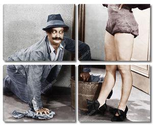 Полотер заглядывается на женские ноги
