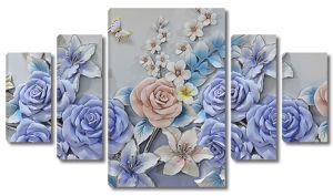 Синие розы с лилиями