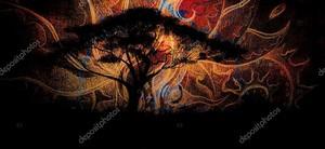 Дерево на восточном фоне