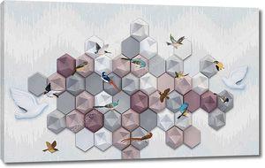 Объемные разноцветные шестиугольники с птицами