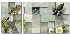 Птицы на зеленом мраморе