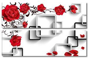 Черно-белые квадраты с розами