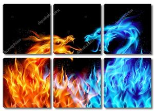 Синий и красный огонь драконы