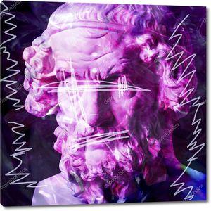 Концепция современного искусства коллаж с головой античной статуи в сюрреалистическом стиле. Современное необычное искусство .