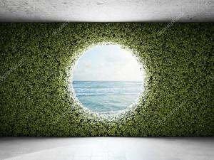 Большое круглое окно в стене из зарослей