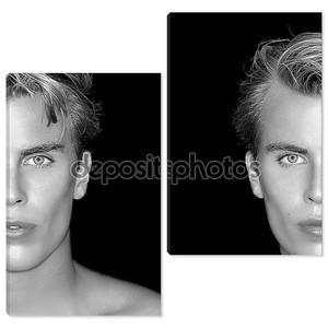 Близнецы. две половины лица блондинка мужчин на черном фоне
