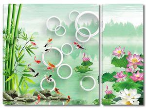 Озеро, бамбук, цветные рыбы, белые и розовые водяные лилии