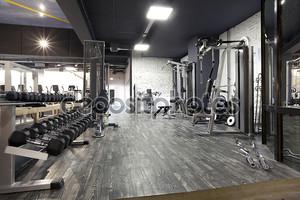 современный тренажерный зал интерьер с различным оборудованием