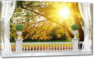 Осенний парк за балюстрадой