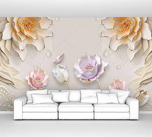 Тиснение,  бежевые, белые и розовые цветы