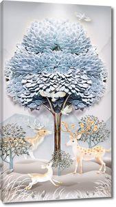 Олени под деревом из фаянса