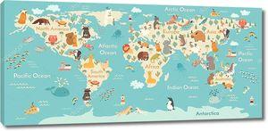 Карта мира и континентов животных