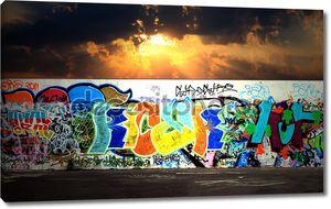 Граффити и бетонный пол ночная сцена абстрактный фон