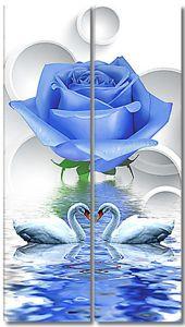 Два лебедя с синей розой