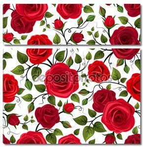 Бесшовный фон с красными розами. Векторные иллюстрации