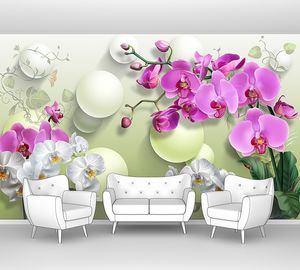 Орхидеи с белыми шарами