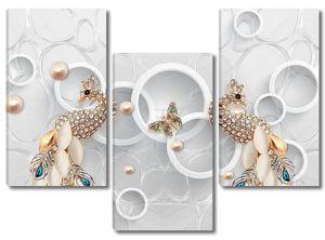 Два золотых павлина с кристаллами