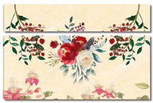 Бежевый фон с букетом роз и розовых водяных лилий