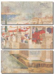Прекрасная фреска с видом на город